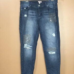 Juicy Couture Distressed Rhinestone Skinny Jeans 8